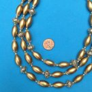"VINTAGE GOLD TONE 3 STRAND BEADED NECKLACE ""HONG KONG"" VERY STRIKING. UP TO 18"""