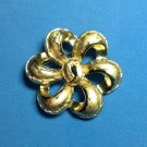 "CROWN TRIFARI FANCY BOW PIN IN SHINY & TEXTURED GOLD TONE @ 2"" IN DIAMETER"