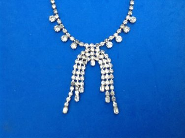 "VINTAGE DAZZLING RHINESTONE NECKLACE DANGLING CENTER PIECE UP TO 15"" LONG"