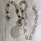STUNNING HANDCRAFTED SILVER MIX STONES NECKLACE ROSE QUARTZ CRYSTAL SEMI PREC.