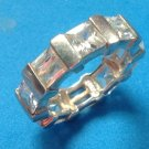STERLING SILVER CZ ETERNITY BAND RING ALTERNATING STONE DESIGN SIZE 8 WT. 8g