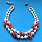 MIRIAM HASKELL COSTUME CORAL PIECES & COSTUME ANGEL SKIN BEADS 2 STRAND NECKLACE