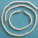 14K YELLOW GOLD & PEARL NECKLACE & BRACELET SET