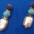 "STERLING SILVER -CS- PEARL TURQUOISE & PURPLE STONE 1 5/8"" PIERCED EARRINGS"