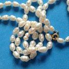 "18"" STRAND OF KNOTED REAL PEARLS WITH 10k YELLOW GOLD CLASP. ELEGANT NECKLACE !!"
