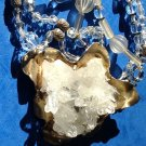STRIKING QUARTZ W/FACETED GLASS BEADS 3 STRAND STATEMENT NECKLACE PLS. SEE PICS!