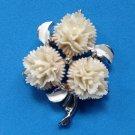 "VINTAGE CREAM PLASTIC 3 FLOWER PIN SILVER TONE & ENAMEL 2"" X 1 1/2"""