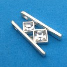 CLASSY SILVER TONE & 2 CLEAR DIAMOND SHAPED STONES PENDANT