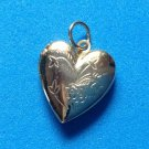 "VINTAGE GOLD TONE ENGRAVED HEART PENDANT 1"" WITH LOOP X 3/4"" - VERY SWEET PIECE!"