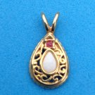 """PRETTY OPAL AND RED STONE IN GOLD TONE SETTING PENDANT 1"""" X 1/2"""""""
