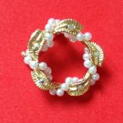 "FEMININE GOLD TONE AURORA BOREALIS AND LITTLE WHITE PEARL PIN 1 1/8"" VERY SWEET"