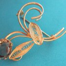 BEAUTIFUL GOLD FILIGREE TOPAZ(?)  STYLIZED FLOWER DESIGN PIN