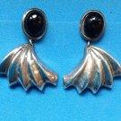 STERLING SILVER & ONYX DANGLING PIERCED EARRINGS
