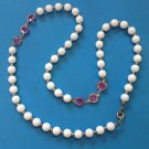 """VINTAGE WHITE BEAD GOLD TONE & FACETED PINK GLASS BEAD 28"""" LONG X 3/8"""" NECKLACE"""