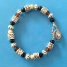 "PRETTY SILVER TONE TAN & BROWN BEADED BRACELET 7 1/2"" LONG"