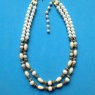 LOVELY DOUBLE STRAND WHITE PEARL CREAM GOLD TONE & GRAY BEADS NECKLACE