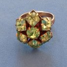BLUE GREEN RHINESTONE FANCY COCKTAIL RING - ADJUSTABLE SIZE. HAS LOVELY SPARKLE