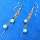 "3"" LONG !! GOLD TONE & TURQUOISE CERAMIC? BEAD DANGLE PIERCED EARRINGS"