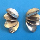 "VINTAGE SHINY & TEXTURED GOLD TONE CLIP ON EARRINGS 1 1/4"" X 3/4"" FAN DESIGN"
