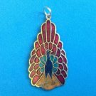"VINTAGE CLOISONNÉ RED YELLOW & BLUE PEACOCK PENDANT 1 3/4"" X 3/4"""