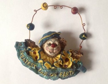 "JUGGLING CLOWN BEAR RESIN PIN ""2001"" ""GREATEST FOB ON EARTH"" 2 1/2"" X 2 3/4"""