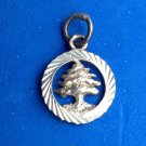 "PRETTY FIR TREE CHRISTMAS TREE SILVER TONE CHARM PENDANT 7/8"" IN DIAMETER"