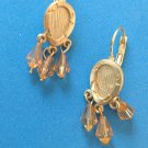 DANGLING LT. AMBER COLORED CRYSTALS ON TEXTURED GOLD TONE LEVER PIERCED EARRINGS