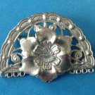 VINTAGE SILVER TONE FLOWER IN SCALLOPED FRAME PIN 2 1/8 x 1 1/2""