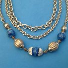 "CLASSY SILVER TONE CHAIN BLUE MOTTLED PLASTIC BEAD 3 STRAND NECKLACE 22"" LONG"