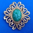 """VINTAGE GOLD TONE PIN WITH GREEN MOTTLED STONE CENTER 2 1/2"""" X 2 1/4"""" FANCY !"""