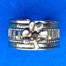 "VINTAGE UNCAS GOLD TONE FLOWER RING ADJUSTABLE @ SIZE 7.5,  3/8"" THICK - PRETTY"