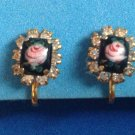 "VINTAGE ENAMELED PINK ROSE ON BLACK WITH RHINESTONES SCREW ON EARRINGS 3/4""x3/8"
