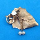 "LOVELY VINTAGE GOLD TONE & DANGLE PEARL LEAF PIN 2"" X 1 1/4"""