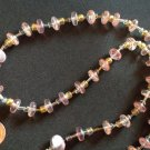 "VERY PRETTY PINK GOLD & CLEAR BEAD NECKLACE 24"" LONG"