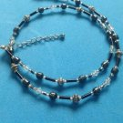 "HEMATITE FACETED CRYSTAL & SILVER TONE BEADED NECKLACE 1/4"" X UP TO 18"" LONG"