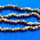 "UNUSUAL CARVED WOOD LOOK LIGHTWEIGHT PLASTIC BEAD NECKLACE 26"" LONG X 1/2"" DIAM."
