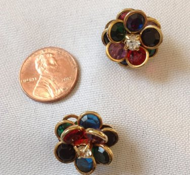"""""""KOREA"""" COLORFUL GEMSTONE FLOWER PIERCED EARRINGS WITH CLEAR STONE CENTER 3/4"""" COSTUME"""