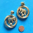 "LARGE GOLD TONE CIRCUS ELEPHANT ON A BALL DANGLE PIERCED EARRINGS 2 3/8"" X 1 1/2"