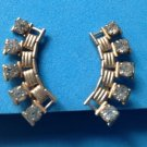 "LOVELY VINTAGE GOLD TONE & RHINESTONE SCREW ON EARRINGS 1 3/8"" X 1/2"""