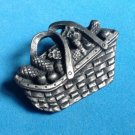 "CUTE PEWTER PICNIC BASKET PIN MARKED"" MADE IN USA"" 1 3/4"" X 1 1/4"""