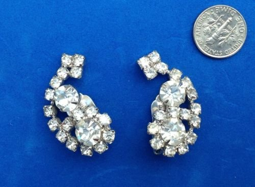 """VINTAGE LARGE SPARKLY RHINESTONE CLIP ON EARRINGS 1 1/2"""" X 3/4"""""""