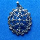 """PRETTY SILVER TONE CUT OUT PENDANT WITH 5 CLEAR STONES 1 3/4"""" X 1 1/4"""""""