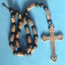 CHRISTIAN ROSARY PRAYER BLACK BEADS WITH SILVER TONE BEADS & CROSS CRUCIFIX