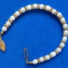 "FAUX WHITE PEARL & GOLD TONE BEADED BRACELET 7 1/2"" - SWEET !!"