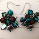 "PRETTY TEAL & IRIDESCENT BLUE DANGLING BEAD PIERCED EARRINGS 1 1/2"" LONG"