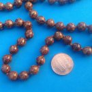 "CLASSY BROWN STONE BEADS KNOTTED SINGLE STRAND 32"" X 3/8"" DIAMETER NECKLACE"