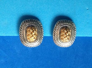 """VINTAGE SOPHISTICATED GOLD & SILVER TONE WOVEN DESIGN CLIP ON EARRINGS I"""" X 7/8"""""""