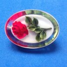 """BEAUTIFUL RED ROSE ENCASED IN ACRYLIC VINTAGE PIN 1 5/8"""" X 1 1/8""""...SO LIFE LIKE"""