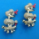 "PAIR OF VINTAGE GOLD TONE RED BOW POODLE PINS 1950s 3/4"" X 1 1/8"" VG CONDITION"