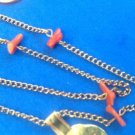 "VINTAGE GENUINE CORAL ON GOLD TONE 14"" CHAIN NECKLACE. CHILD' S ?"